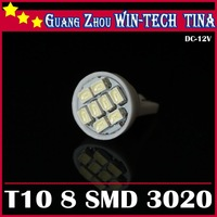 White 10pcs/ lot T10 8SMD LED Wedge Light Bulbs w5w 3020 12v led lamp interior lights 168 194 914 915  Free Shipping