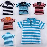 Free shipping wholesale 1pcs New Style Children polo shirt Children's Stripe Short Sleeve T-shirt Baby Boys Lapel hot baby gift