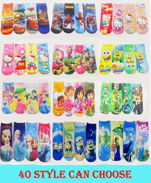 "6pairs/lot length 7"" Gift--Spider man Kids sport knitted Children sock, girls Kitty sock,baby cartoon socks(China (Mainland))"