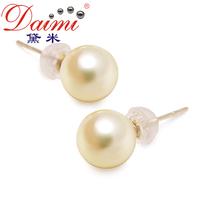 DAIMI Natural Akoya Pearl Earrings AAA 14k Yellow Gold Studs Akoya Cutured Pearls for Girl   Top 1 sale SHEILA