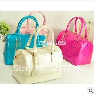 Sale Free Shipping 2013 New Italy Star Model Boston Jelly Candy Color Pillow Woman Handbag Portalbe Shoulder Bag(China (Mainland))