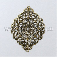 Most Wanted Findings Iron Links,  Filigree Joiners,  Rhombus,  Antique Bronze,  52x39mm,  Hole: 2mm