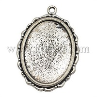 Stock Deals Metal Alloy Pendant Cabochon Settings,  DIY Findings for Jewelry Making,  Oval,  Antique Silver,  Nickel Free