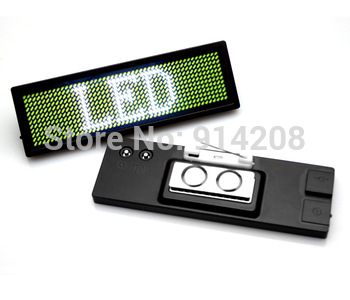 DHL free shipping 100pcs/lot Nightclub/KTV LED Scrolling Badge Tag Name Card ,Moving Sign,White 12*48 Dots  Rechargeable Battery