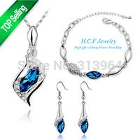 2015 New Fashion Crystal Jewelry Set Angle Gifts Earrings Necklace Bracelet Three Piece Set Wholesale fashion set Free shipping
