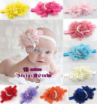 13 colors New Style, beautiful chiffon big flower headband girl baby hair band headwear 10pcs/lot