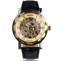 Wholesale Luxury Winner Automatic Mechanical Skeleton Watch luxury Leather Band Wrist Watch 1Pcs