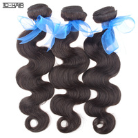 Aliexpress Hot Sale Indian Virgin Hair body wave grade 6A 3pcs lot Color 1b# human hair weft indian hair body wave