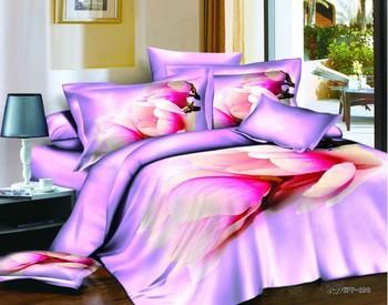 purple flower  bedding set  duvet cover sheet Pillow Cover reactive printing 100% Cotton king queen size bed set