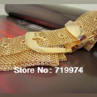 2014 Spring Autumn PUNK Women's Metal Plated Chain Belts Gold Metallic Bling Knitted Wide Waist Belt Brand Style Straps Men