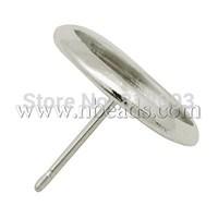 Brass Ear Stud Components,  Platinum,  12x16mm,  Tray: 14mm