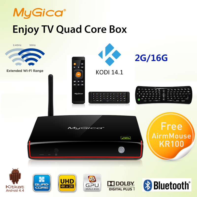 Geniatech mygica genießen tv amlogic m8 Quad-Core android 4.4 box atv1800 amlogic google android tv mini-pc XBMC smart tv box
