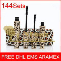 Free DHL 144sets  New Waterproof Love Alpha Double Brand Mascara with Panther Leopard   Package  Waterproof  1 Set=2Pcs MAS144