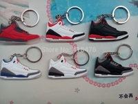 Free Shipping! Popular AJ III Shoe Keychain Basketball shoes keychain,Sneaker Key Ring,(6pcs/lot)
