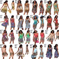 M XXL Plus Size 22 Colors 2014 New Fashion Women Sexy Floral Printed Dress Maxi Bohemian Beach Dress Summer Casual Dress 4152