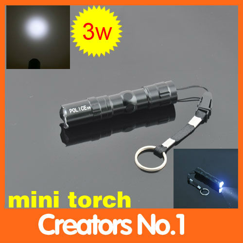 Free shipping 3W Mini LED Aluminum Flashlight Waterproof Camping Sporting Goods Portable Flashlight(China (Mainland))