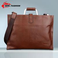 Hot Luxury New Square Slim Vintage Genuine Leather Men Business Messenger Bags Handbag Briefcase Laptop Bag With Metal Handle
