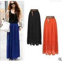 Free Shipping 2013 New Arrival Women's Skirt  Fashion Patterns Lady Chiffon  Longuette Long Skirt