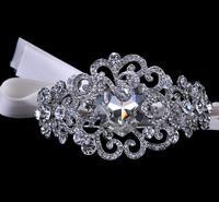 Bridal Crystal Silver Plated Metal Armlet With Ribbons Rhinestone Bangle Wedding Jewelry For Bride Wedding Accessories WIGO0112