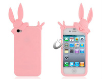 Pink Rabbit Silicone Case for iPhone 4/ 4S Free Shipping LIP-1519D
