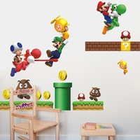 New Super Mario Bros PVC Removable Wall Sticker Home Decor For Kids Room  Free Shipping