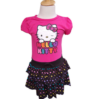 2014 summer Hello Kitty Striped dress girl Cartoon vest dress Children's dress  Soft and comfortable