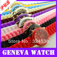Free Shipping 50pcs Geneva New Style Watch Jelly Watch Three circles Display Silicone Strap Candy Color Unisex mint green