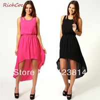New 2013 Women Long Dress Slashed Back Asymmetric Bottom Sleeveless Chiffon One-Piece Women Club Dress Free Shipping D021