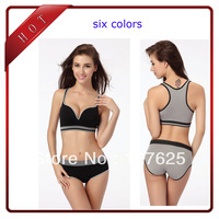 2013 women's fashion bra sexy brassiere sports underwear with panties sets padded vest seamless Yoga bra M L  free shipping
