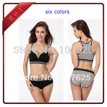 women's fashion bra sexy brassiere sports underwear can with panties sets padded vest seamless Yoga bra M L  free shipping