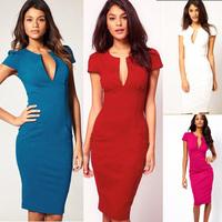 Hot selling, Women Fashion wear to work Deep V neck Pocket puff cap sleeve stretch slimming Sheath Shift Pencil Plus Size Dress