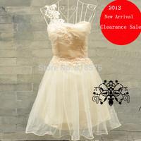 Hot sale new 2014 women summer fashion one-shoulder wedding dress,desigual vestidos prom dresses,light purple & champagne color
