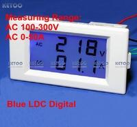 Free Shipping Blue LCD Digital AC voltmeter ammeter  AC 100-300V volt Voltage Meter Current ampere Panel Meter AC 0-50A