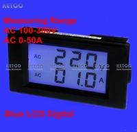 Free Shipping Blue LCD Display Digital voltmeter ammeter  AC100-300V AC 0-50A Voltage Volt Amp Ampere Current Panel Meter Gauge