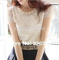 S/M/L/XL/XXL/XXXL 2013 hot  fashion Summer women's chiffon shirt lace top beading embroidery o-neck blouse free shipping  d3381