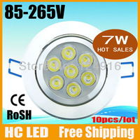 10pcs/lot Free shipping,7w led ceiling light,AC85-265 Warm/cool white red blue yellow green Aluminium CE/RoHS 2 years warranty