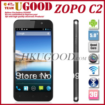 Hot ZOPO C2 mtk6589  Quad Core Android Ali Cloud Engine OS 3G Android Phone 13.0MP Camera 5.0'' 1920x1080P Screen Hot Selling