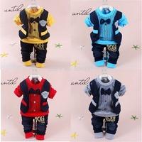 Freeshipping New 2014 Baby hoody Clothing Sets Baby Boys Dumbo dog Bailey Bear hat Korean fashion baby three-piece suits set
