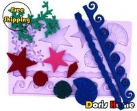 Free shipping shell fondant gum paste silicone cake star decorating fondant mold tool
