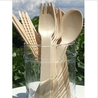 Disposable wooden 4,500pcs biodegradable wooden cutlery fork /spoon /knife cutlery green wedding party ice cream cake