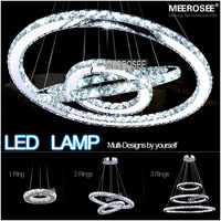 Hot sale Diamond Ring LED Crystal Chandelier Light Modern Pendant Lamp 3 Circles 100% Guarantee different size position
