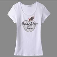 HOT 2013 New arrival women short sleeve shirt tshirt Rivet paste diamond Apple set auger white and mei red black Size M-3XL 025