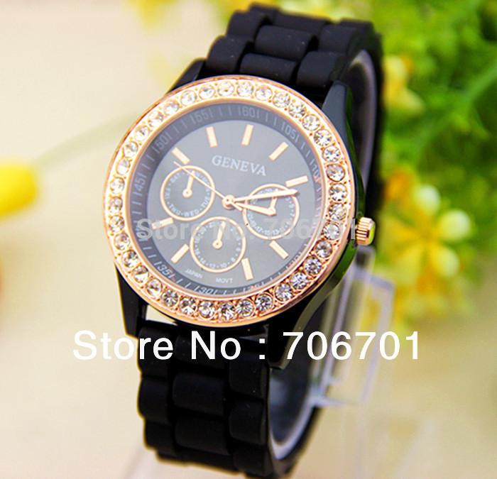 Free shipping New Fashion 14 colors Rhinestone GENEVA Watch Gel Crystal Silicone Jelly watch 1piece/lot(China (Mainland))