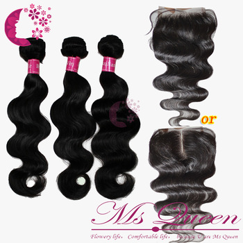 middle part or free part brazilian hair lace closure and bundles body wave virgin hair 1 closure  (3.5 *4 ) + 3 pcs hair weft