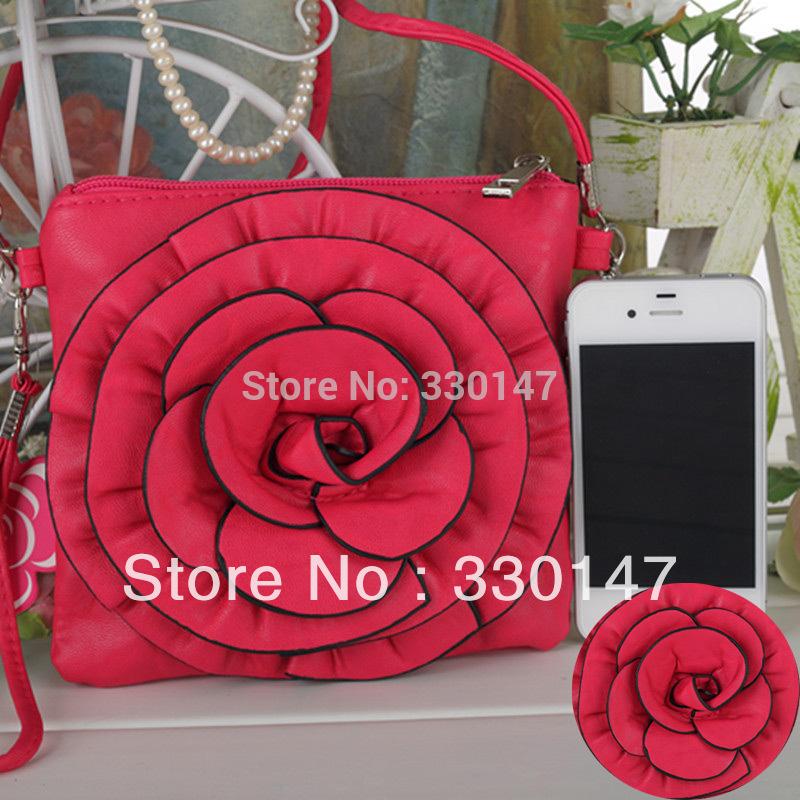 New Fashion Cute Camellia Cell Phone Key Purse Handbag Card Case Bag Flower Pouch Free shipping