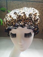 Wholesale leopard  Satin &EVA double layer waterproof shower cap new 2013 homeware needlework pillow cap