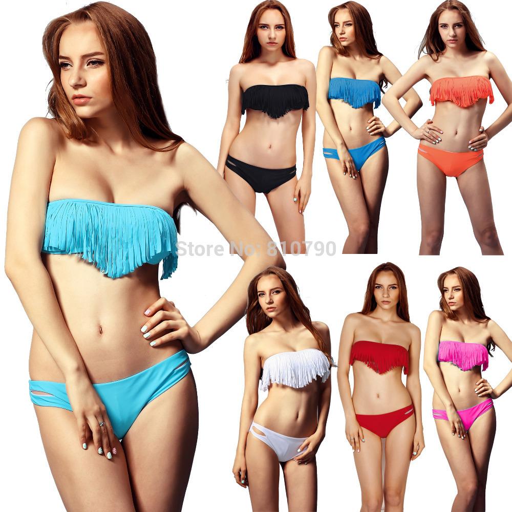 1set/lot Free Shipping Beauty Women Favor Bikini set Sexy Swimsuit Padded Boho Fringe Top Strapless Swimwear(China (Mainland))