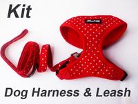 Fashion pet dog Harness and Leash kit set Polka dot 100% cotton Adjustable leash collar dog harness traction rope Free Shipping