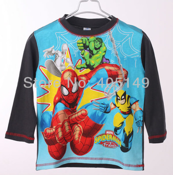 boys tee shirt long sleeve childrens t shirt 100cotton for kids cartoon design 2013 hot selling 467