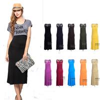 New summer dress  2014 S M L XL woman big vestido plus size  high quality modal beach fashion vest  maxi dress woman large size